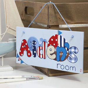 Personalised Nautical Boat Canvas Sign - children's pictures & paintings