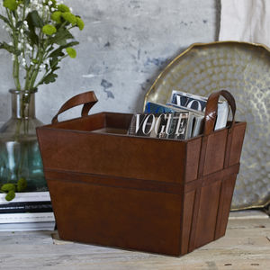 Leather Storage Basket - magazine racks