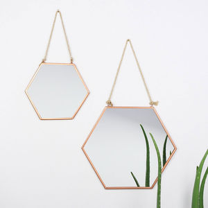 Engraved Hexagonal Copper Mirror - dining room