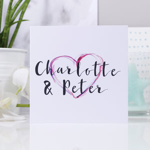 Personalised Watercolour Heart Anniversary Card