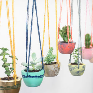 Lace Effect Concrete Hanging Planter - pots & planters
