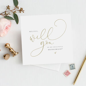 Will You Be My Bridesmaid Card | Mock Gold Fe37