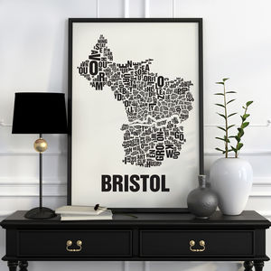 Bristol Letter Map Screen Print
