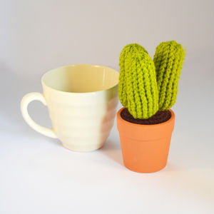Crocheted Amigurumi Cactus Small Green - flowers, plants & vases