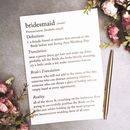 Funny Bridesmaid Definitions A5 Card