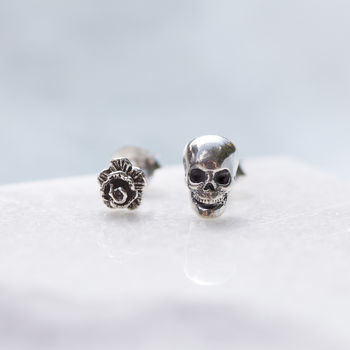 Tiny Rose And Skull Sterling Silver Stud Earrings