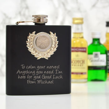 Personalised Engraved Hip Flask With Lucky Six Pence