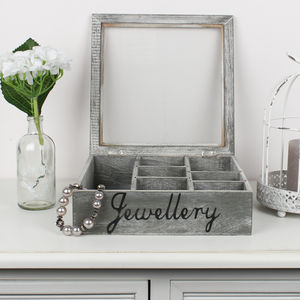 French Grey Wooden Jewellery Box