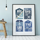 Favourite Destination Airport Tag Art Print, Four Tags