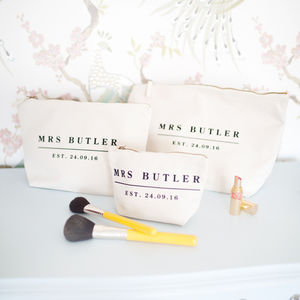 Personalised Wedding Date Make Up/Wash Bag Triple Set - the morning of the big day