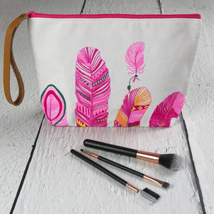 Neon Feather Print Wash Bag - make-up & wash bags