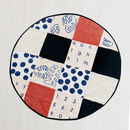 Peach and Navy patchwork play mat aerial view