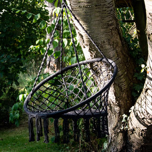 Black Macrame Hanging Chair - garden furniture