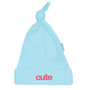 Cute Mint Baby Hat With Pink Slogan