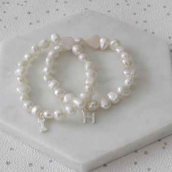 Girls Pearl And Heart Initial Bracelet