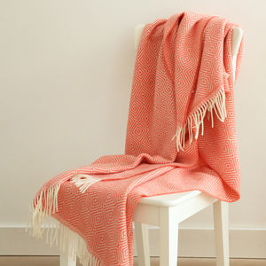 Merino Wool Throw Rhomb Coral, Beige, Blue - bedspreads & quilts