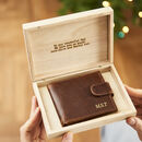 Personalised Leather Wallet In Personalised Wooden Box