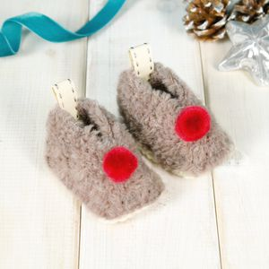 Personalised Reindeer Baby Booties - clothing