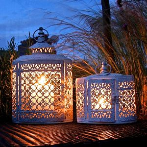 Pair Of White Oval Filigree Lanterns