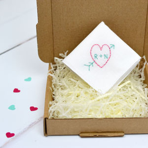 Personalised Handkerchief : Heart And Arrow
