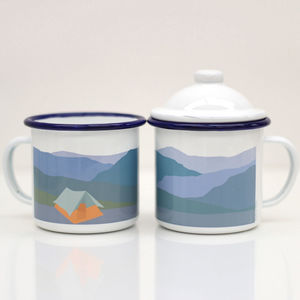 Enamel Mug With Tent Design