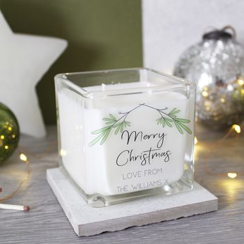 Personalised Merry Christmas Family Scented Candle
