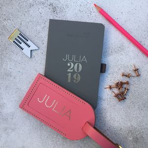 Personalised 2019 Dotty Diary And Luggage Tag