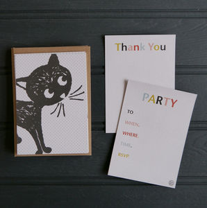 A6 Cat Party Invitations And Thank You Postcards - invitations