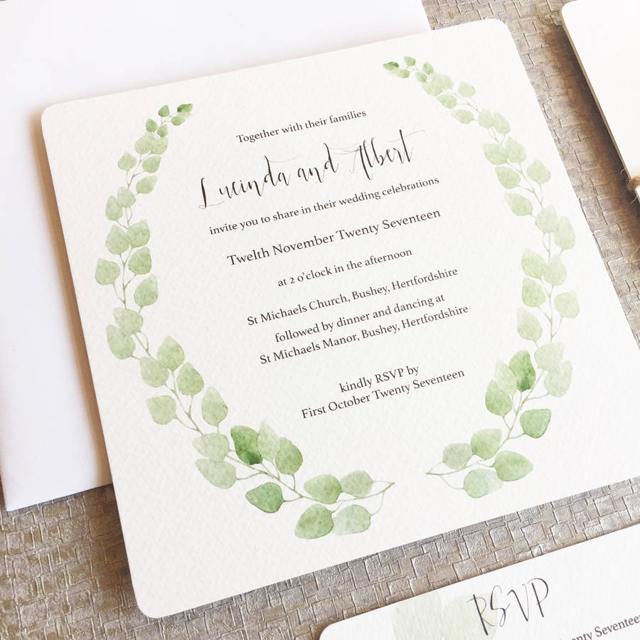 Eucalyptus Wedding Invitation Collection By Elinor Rose