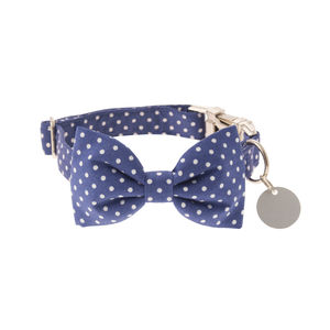French Blue Polka Dot Bow Tie Dog Collar - dog collars