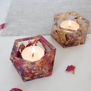 Geometric Floral Resin Tea Light
