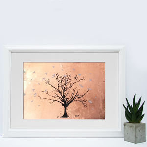 Copper Fall Autumn Tree Screen Print Copper Leaf
