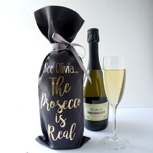 Personalised Christmas The Alcohol Is Real Bottle Bag - ribbon & wrap