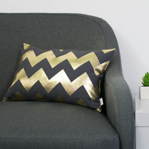 Metallic Chevron Cushion In Pewter Grey And Gold
