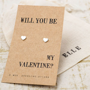 'Be My Valentine' Silver Earrings - earrings