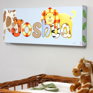 Jungle Animal Baby's Name Canvas