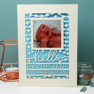 Papercut Hello New Baby Photo Keepsake Card
