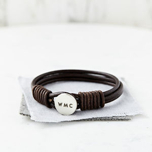 Personalised Men's Silver And Leather Bracelet - valentine's gifts for him
