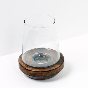 Wooden Base Candle Holder With Copper Inlay