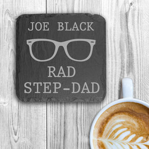 'Rad Step Dad' Personalised Square Slate Keepsake - placemats & coasters