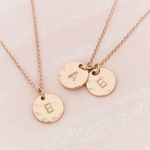 Personalised Hammered Double Initial Disc Necklace - necklaces & pendants