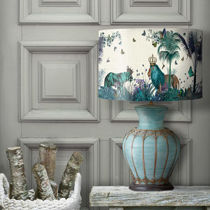 Tropical Lions Lampshade, Blue