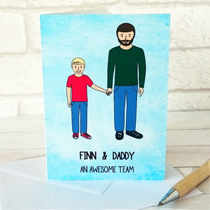 Dad And Son Portrait Father's Day Card