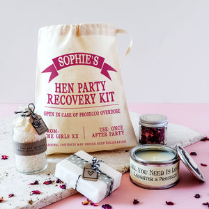 Personalised Hen Party Mini Spa Recovery Kit - hen party styling