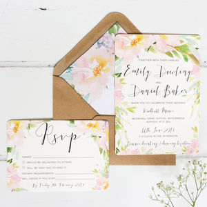 Pastel Meadow Wedding Invitation And RSVP - invitations