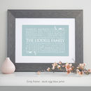 grey framed print - duck egg blue print