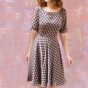 1950s Dress With Sleeves In Chocolate Fan Print Crepe