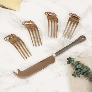 Set Of Four Copper Cheese Forks And Knife Gift Set
