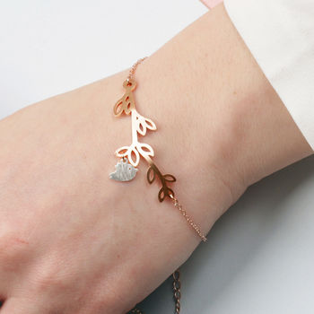 Rose Gold And Silver Bird On Branch Bracelet