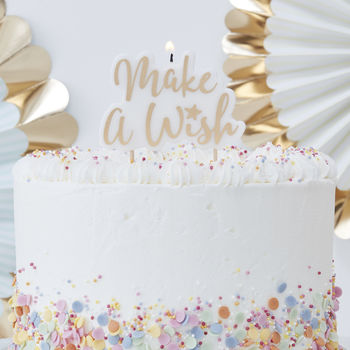 Gold Glitter Make A Wish Birthday Party Candle